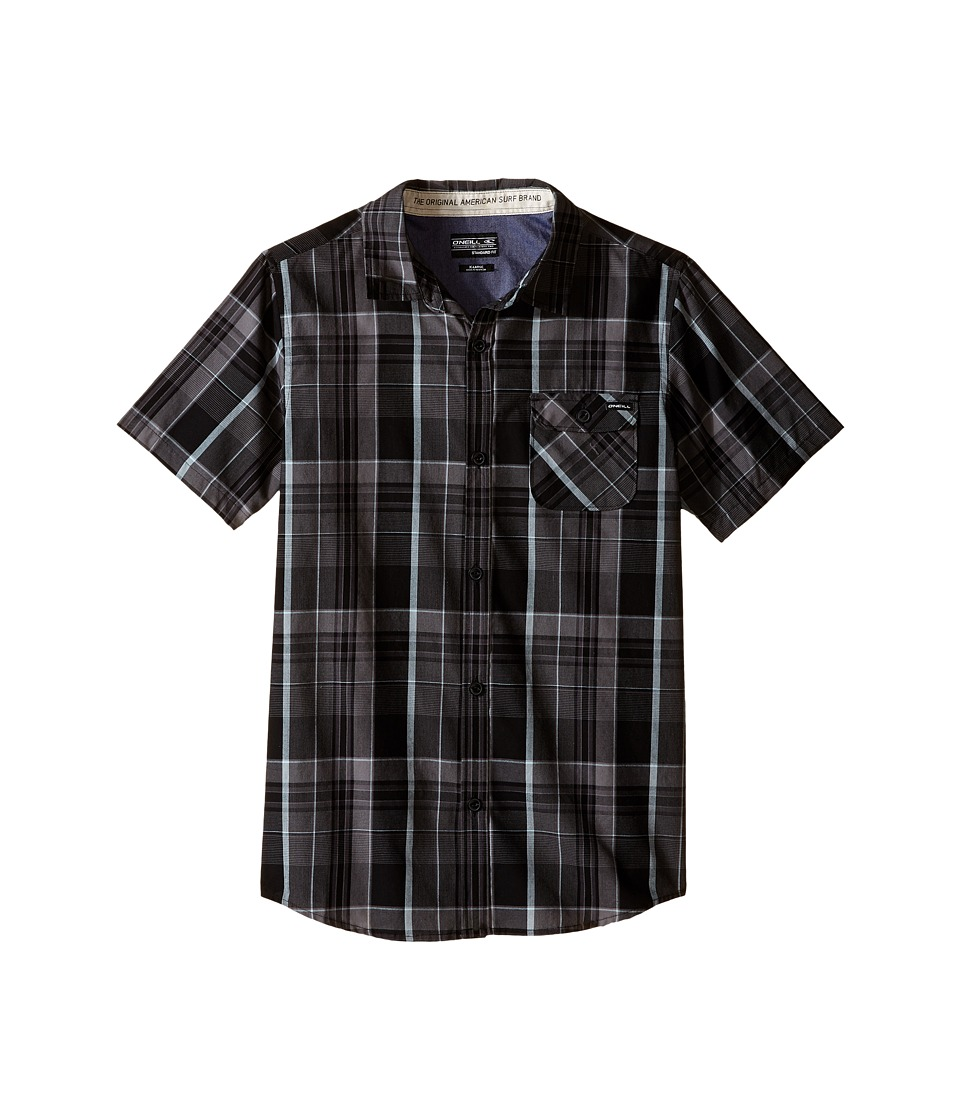 O'Neill Kids - Emporium Plaid Short Sleeve Woven Top (Big Kids) (Black) Boy's Clothing