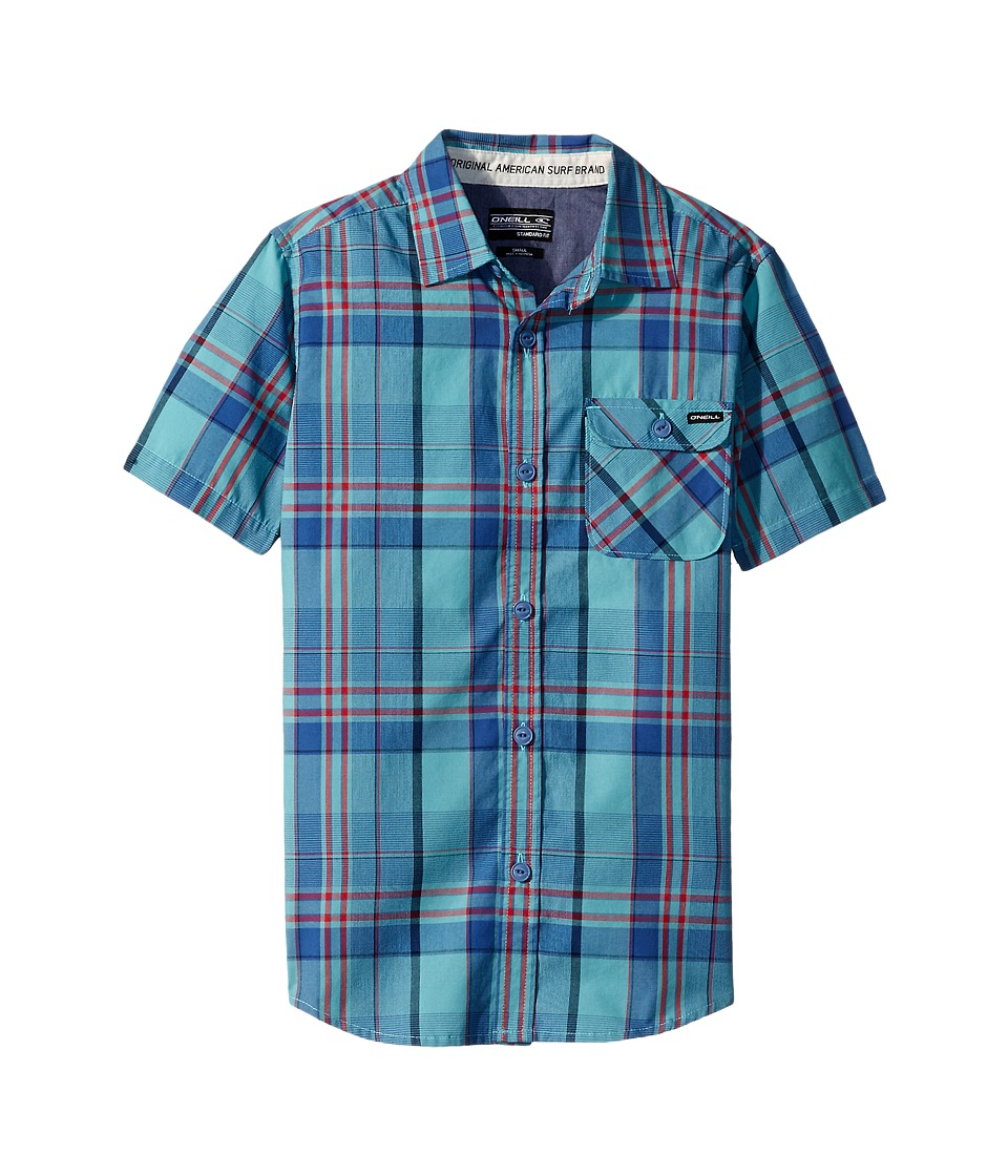 O'Neill Kids - Emporium Plaid Short Sleeve Woven Top (Big Kids) (Turquoise) Boy's Clothing