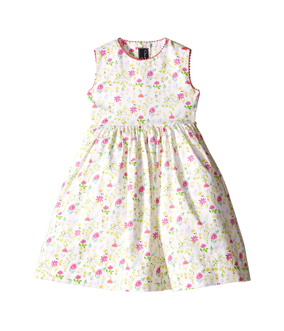 Oscar de la Renta Childrenswear - Watercolor Floral Cotton Party Dress (Toddler/Little Kids/Big Kids) (Keylime) Girl's Dress