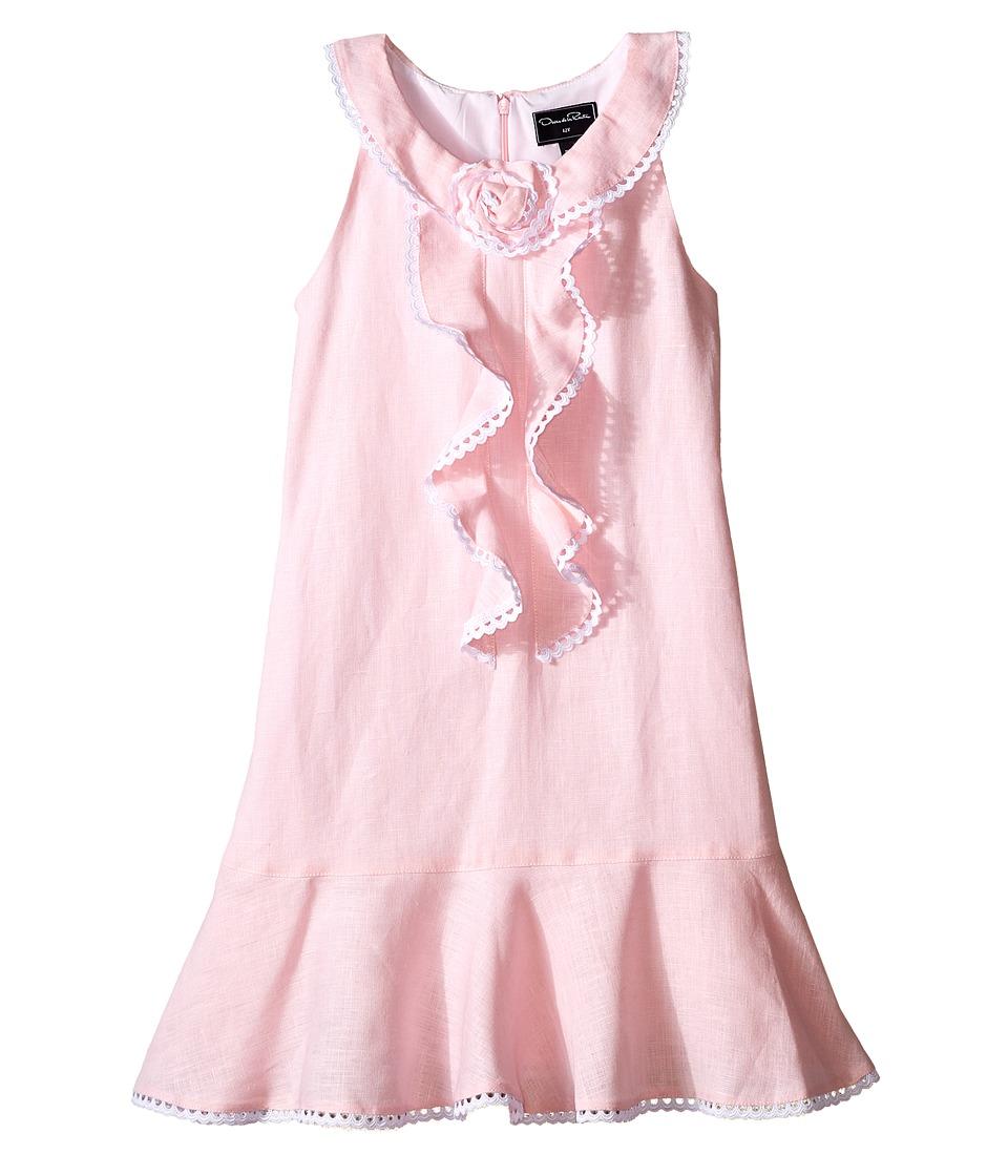 Oscar de la Renta Childrenswear - Linen Sleeveless Dress with Rose (Toddler/Little Kids/Big Kids) (Rose) Girl's Dress