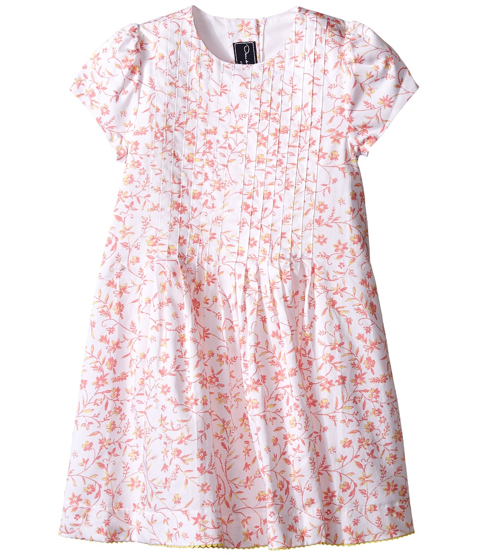 Oscar de la Renta Childrenswear - Floral Ikat Cotton Short Sleeve Pin Tuck Dress (Toddler/Little Kids/Big Kids) (Sorbet) Girl's Dress