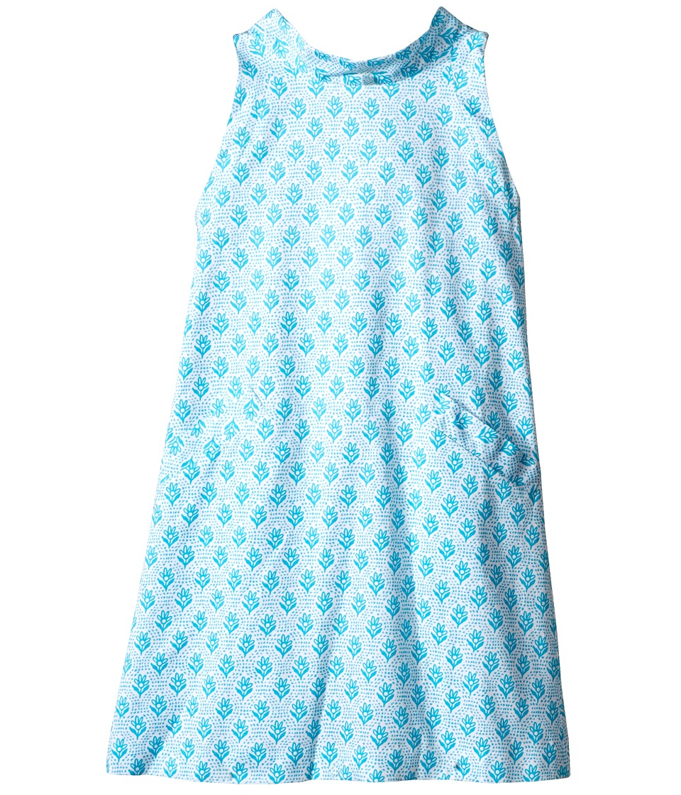 Oscar de la Renta Childrenswear - Floral Block Cotton A-Line Dress (Toddler/Little Kids/Big Kids) (Caribbean) Girl's Dress