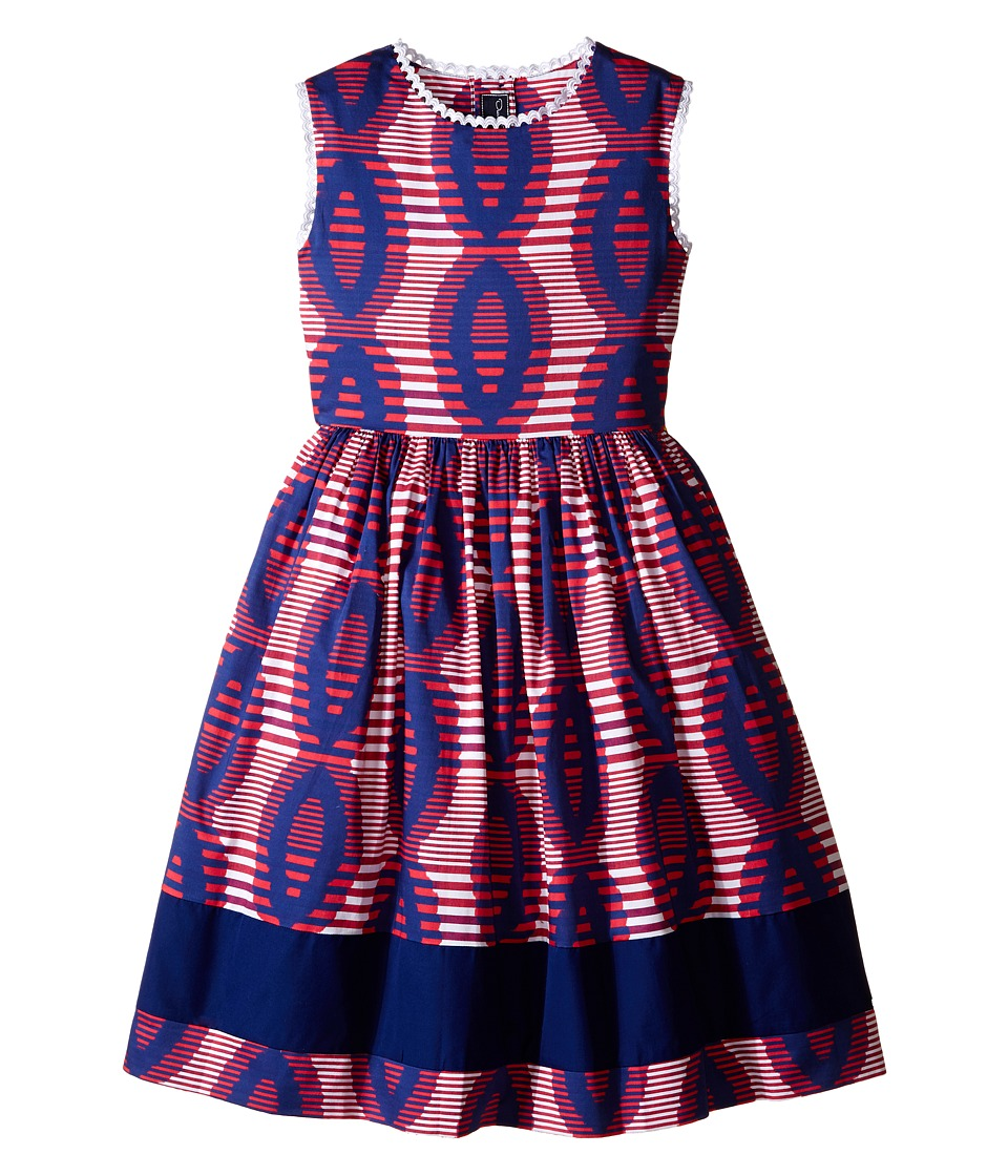 Oscar de la Renta Childrenswear - Stripe Ikat Cotton Party Dress (Toddler/Little Kids/Big Kids) (Ruby/Navy) Girl's Dress