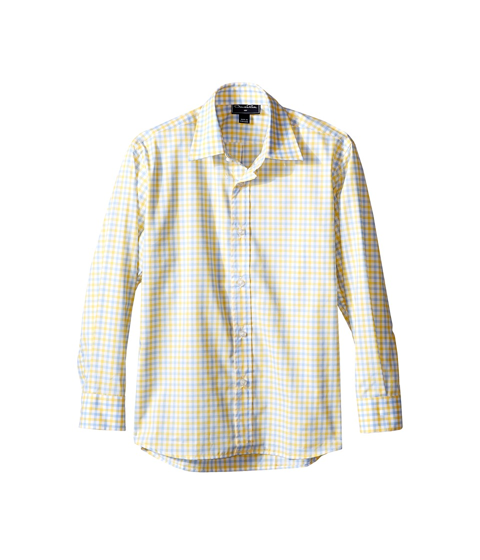 Oscar de la Renta Childrenswear - Check Cotton Long Sleeve Dress Shirt (Toddler/Little Kids/Big Kids) (Sky/Sunbeam) Boy's Long Sleeve Button Up
