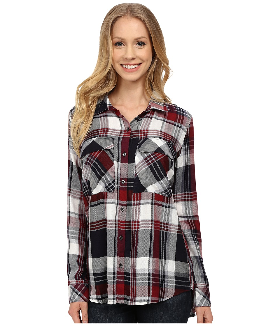 KUT from the Kloth - Nora Plaid Utility Blouse (Marsala) Women's Long Sleeve Button Up