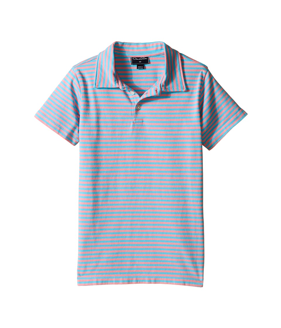 Oscar de la Renta Childrenswear - Striped Short Sleeve Polo (Toddler/Little Kids/Big Kids) (Sorbet/Caribbean) Boy's Short Sleeve Pullover