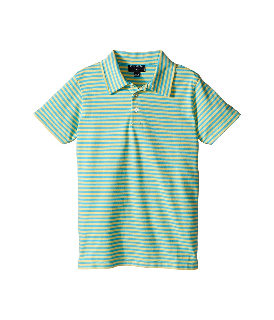 Oscar de la Renta Childrenswear - Striped Short Sleeve Polo (Toddler/Little Kids/Big Kids) (Sunbeam/Caribben) Boy's Short Sleeve Pullover