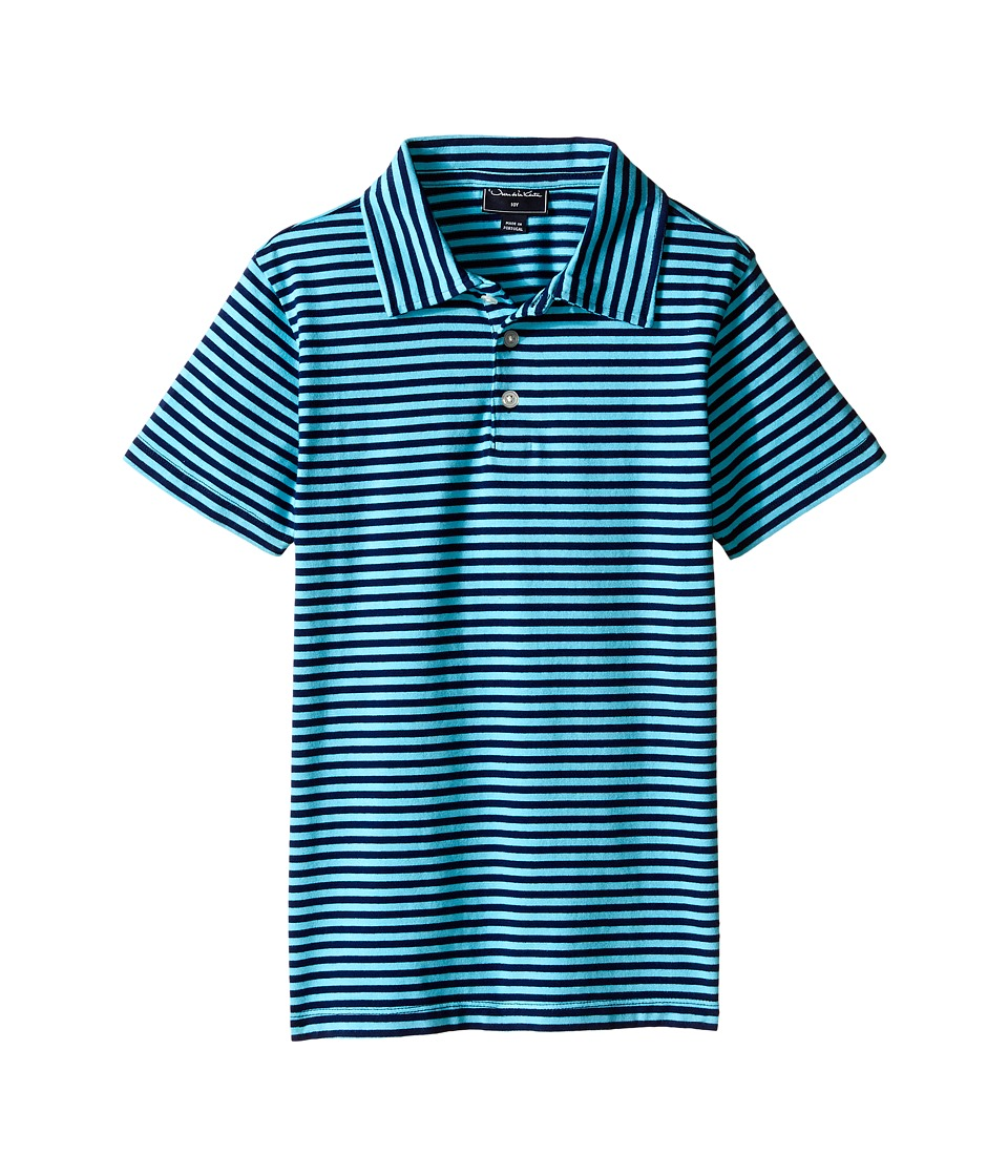 Oscar de la Renta Childrenswear - Striped Short Sleeve Polo (Toddler/Little Kids/Big Kids) (Navy/Caribbean) Boy's Short Sleeve Pullover