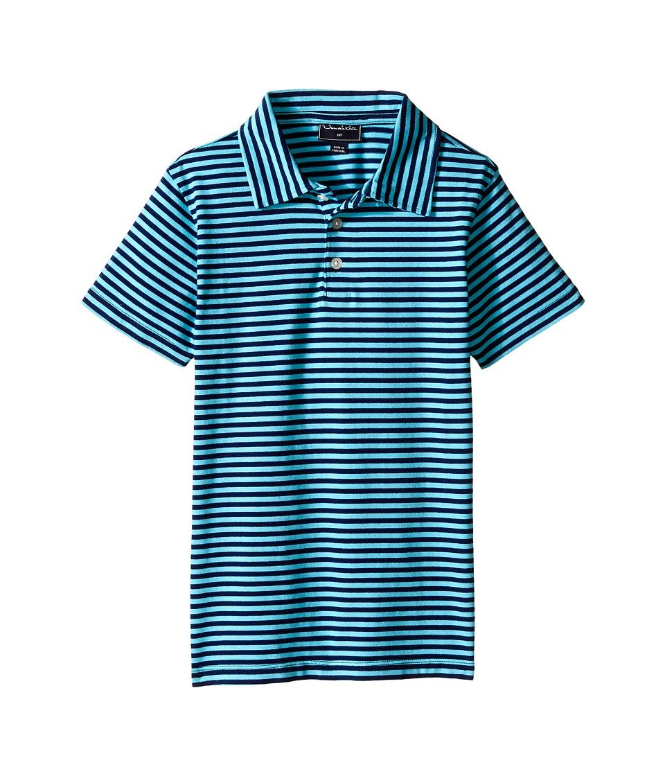 Oscar de la Renta Childrenswear - Striped Short Sleeve Polo (Toddler/Little Kids/Big Kids) (Navy/Caribbean) Boy's Short Sleeve Pullover