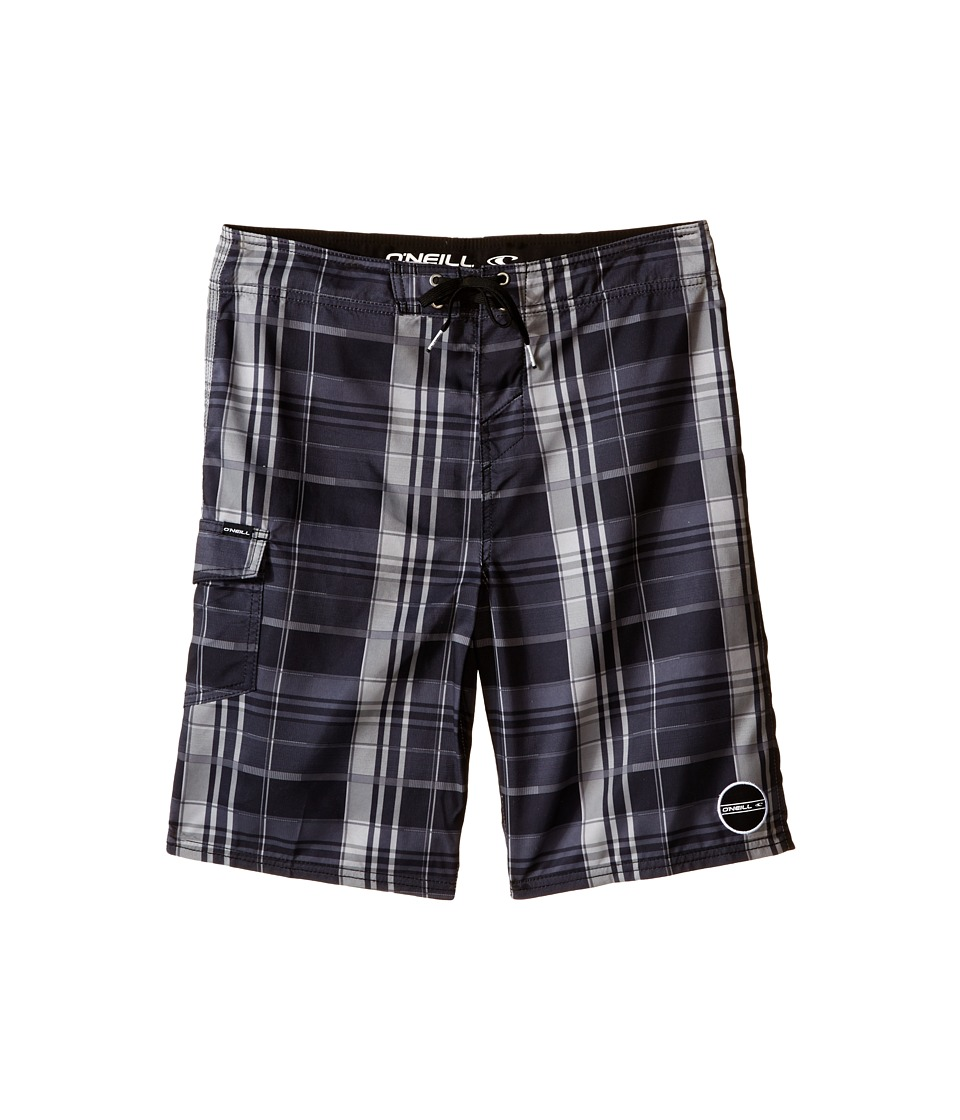 O'Neill Kids - Santa Cruz Plaid Boardshorts (Big Kids) (Black) Boy's Swimwear