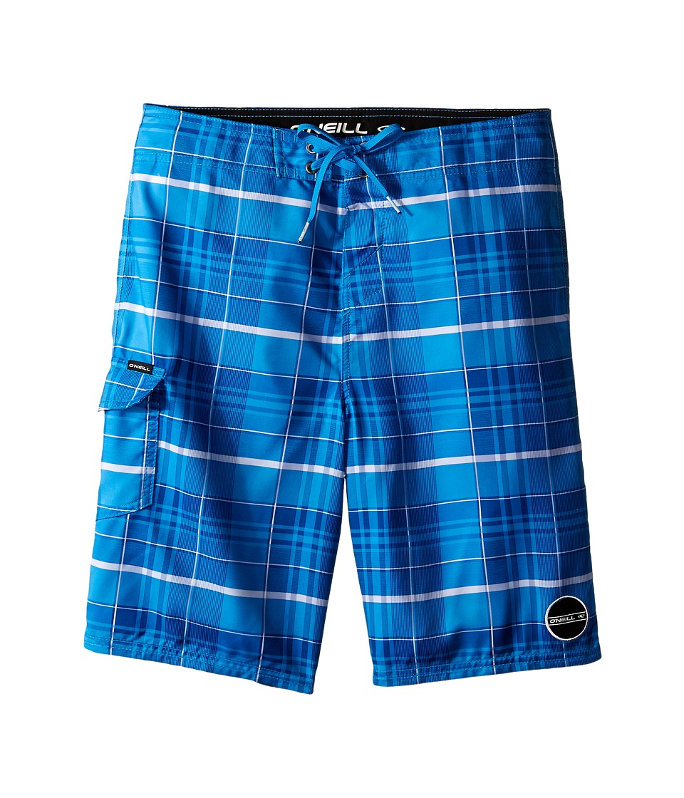 O'Neill Kids - Santa Cruz Plaid Boardshorts (Big Kids) (Bright Blue) Boy's Swimwear