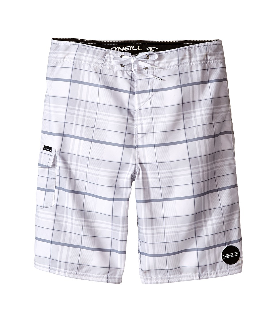O'Neill Kids - Santa Cruz Plaid Boardshorts (Big Kids) (White) Boy's Swimwear