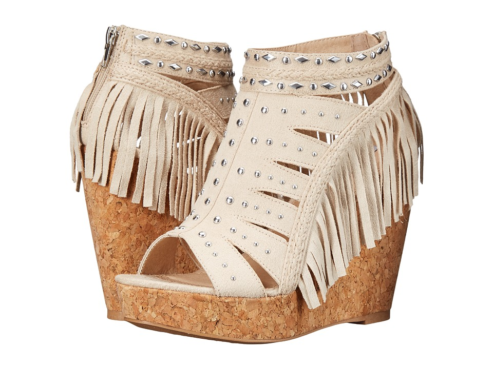 Not Rated - Frolic in Fringe (Cream) Women's Wedge Shoes