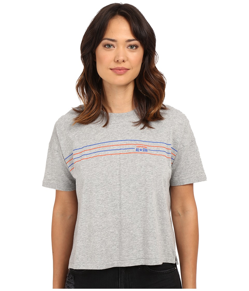 Converse - Famous 4 Chest Stripe V-Neck Tee (Vintage Grey Heather) Women's T Shirt