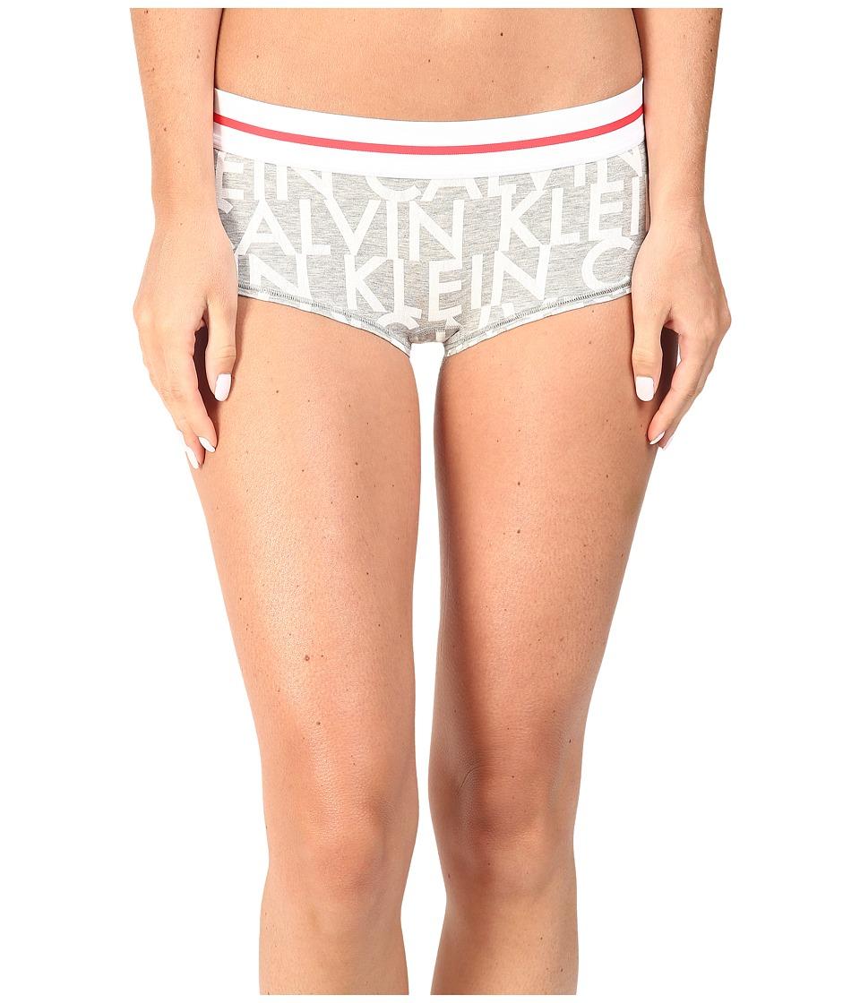 Calvin Klein Underwear - Modern Cotton Boyshorts (Shifting Planes Logo Heather Grey) Women's Underwear