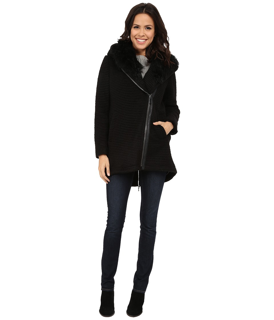 Vince Camuto - Fur Hood Sweater Coat J8241 (Black) Women's Sweater