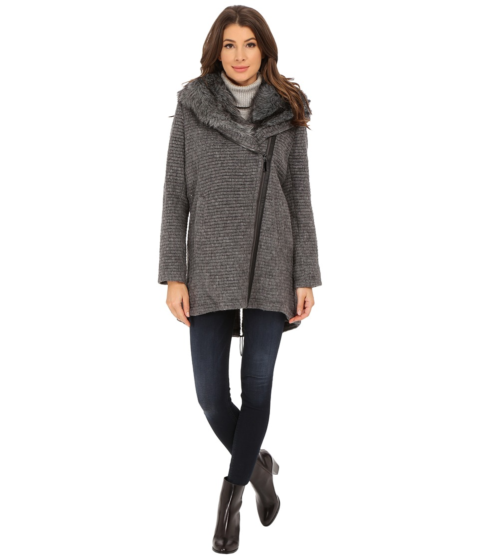 Vince Camuto - Fur Hood Sweater Coat J8241 (Grey) Women's Sweater