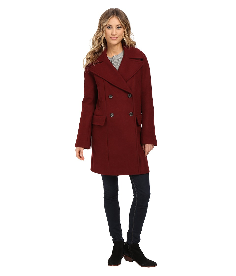 Vince Camuto - Cacoon Wool Peacoat J8441 (Oxblood) Women's Coat