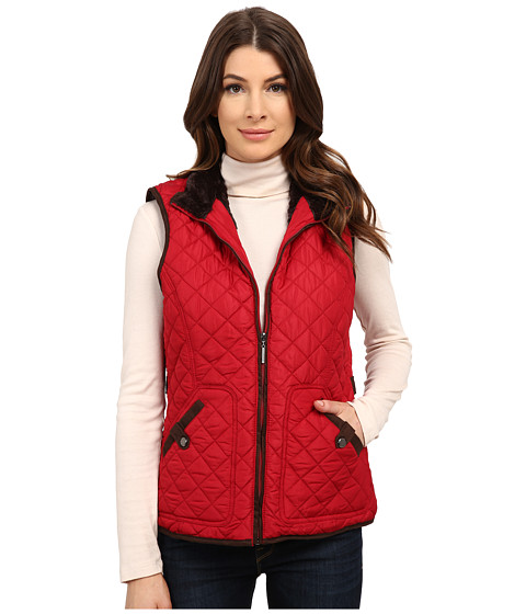 Weatherproof - Quilted Vest w/ Faux Suede Piping (Scarlet) Women