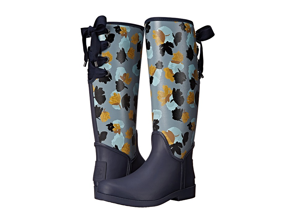 COACH - Tristee (Midnight Navy/Cornflower Matte Rubber/Floral Canvas 1) Women's Pull-on Boots