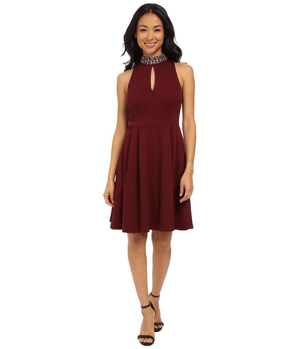 KUT from the Kloth - Cut in Pleated Dress (Merlot) Women's Dress