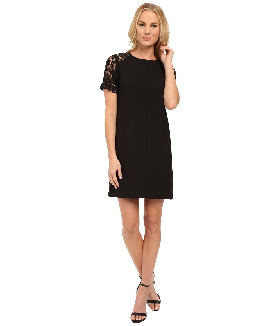 KUT from the Kloth Mock Raglan Lace Sleeve Dress (Black) Women