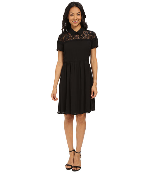KUT from the Kloth - Peter Pan Collar Shirred Dress (Black) Women