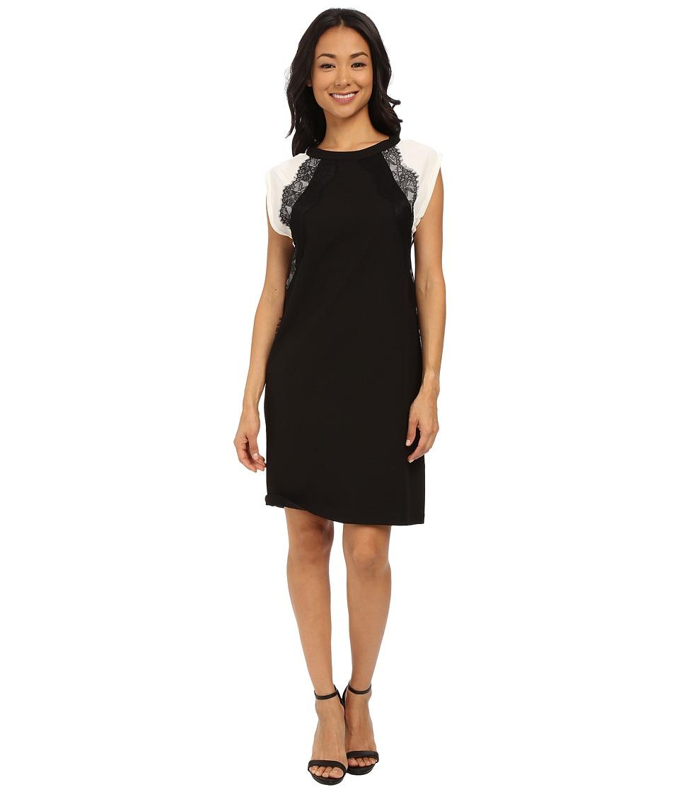 KUT from the Kloth Shift Dress w/ Contrast Shoulders (Black) Women