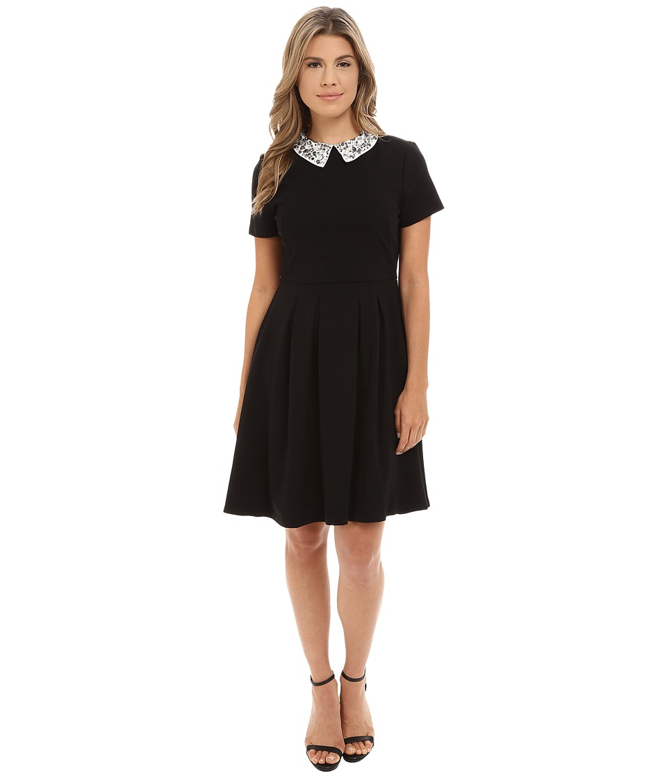 KUT from the Kloth - Pleated Skirt Dress w/ Embellished (Black/Ivory) Women's Dress
