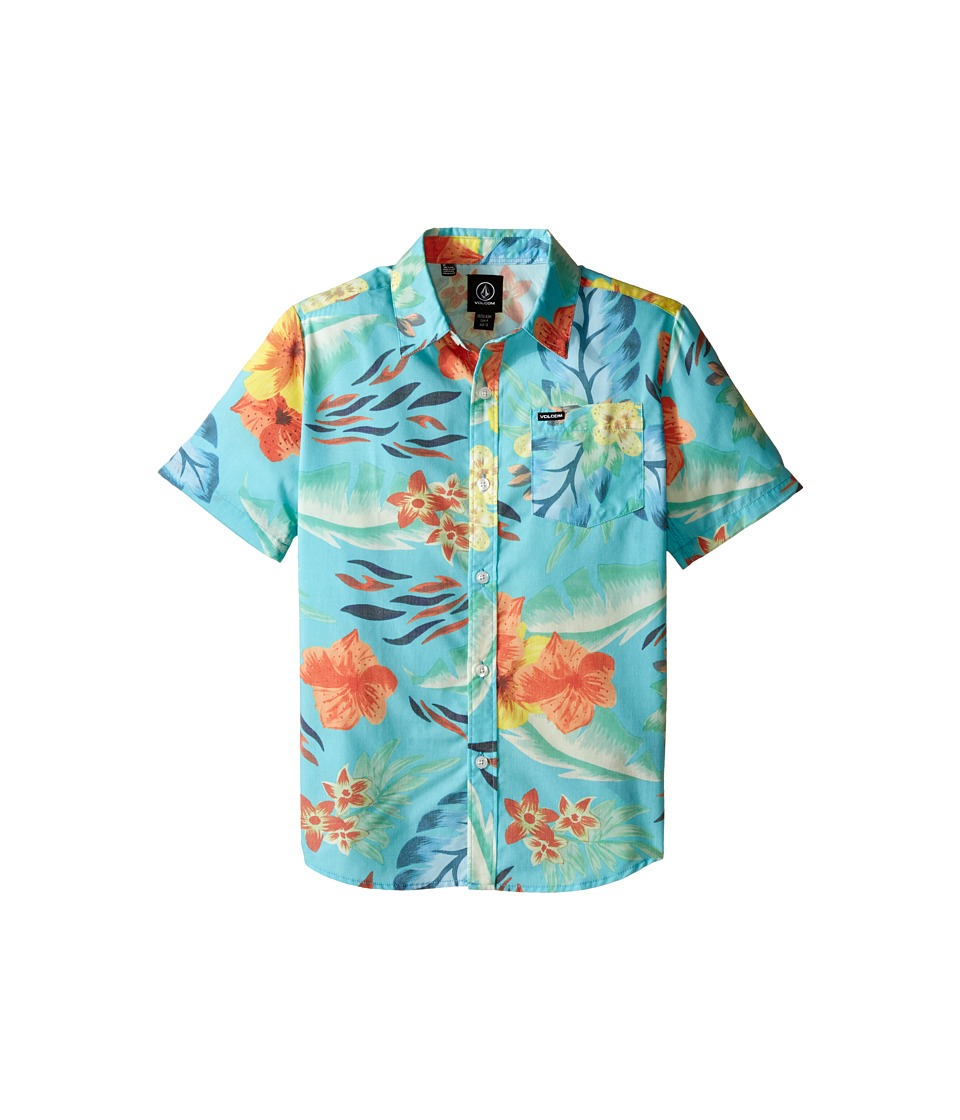 Volcom Kids - Loui Lo Short Sleeve Shirt (Big Kids) (Blue Bird) Boy's Short Sleeve Button Up