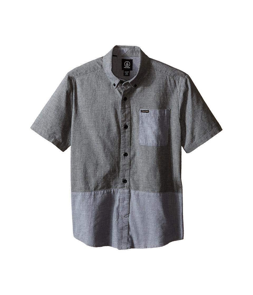Volcom Kids - Holstein Short Sleeve Shirt (Big Kids) (Navy) Boy's Short Sleeve Button Up