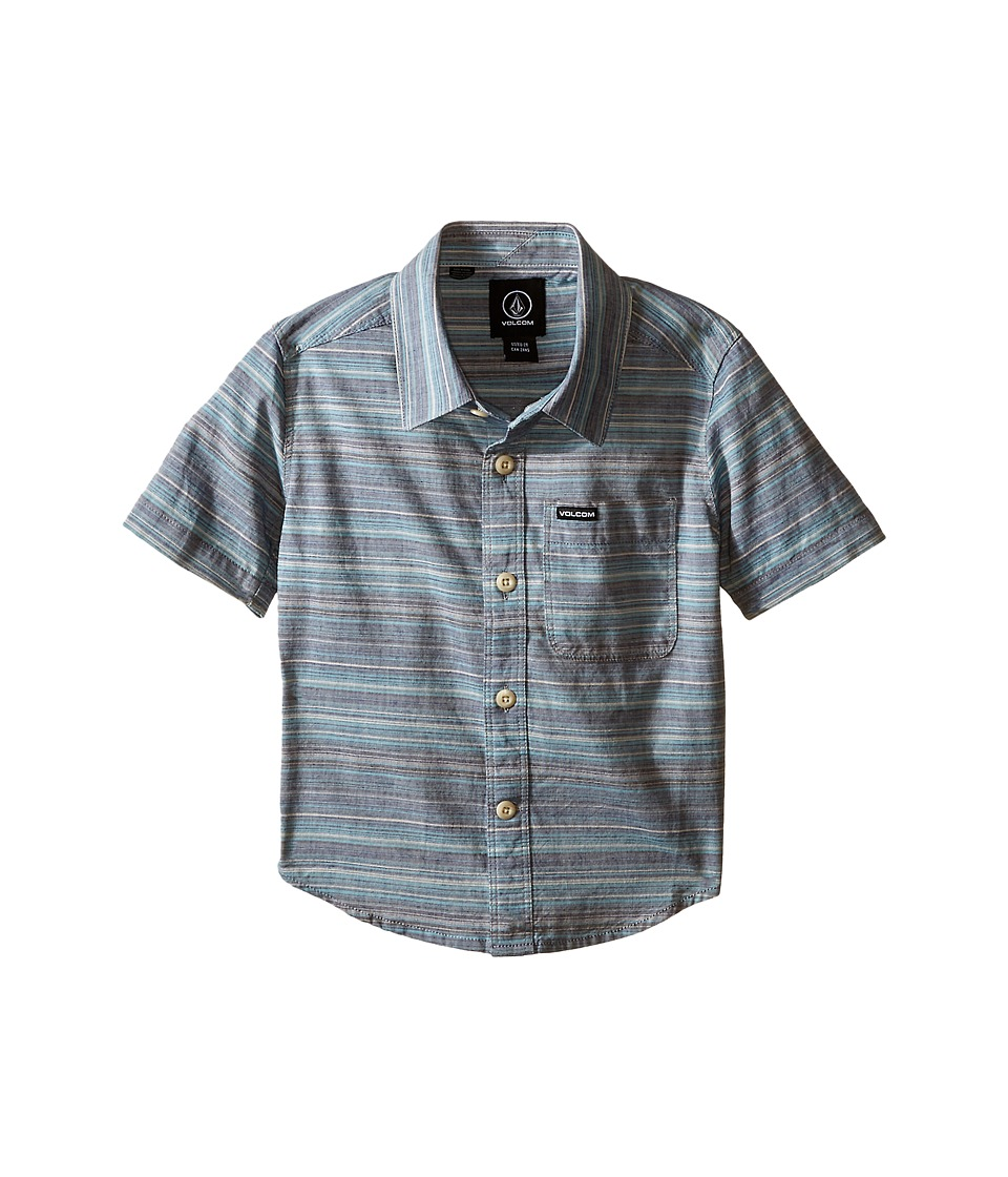 Volcom Kids - Ledfield Short Sleeve Shirt (Toddler/Little Kids) (Navy) Boy's Short Sleeve Button Up