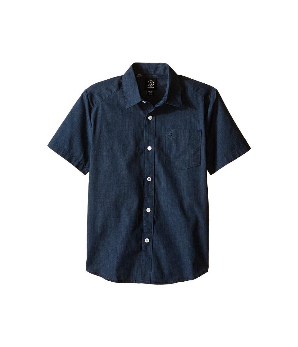 Volcom Kids - Everett Solid Short Sleeve Shirt (Big Kids) (Navy) Boy's Short Sleeve Button Up