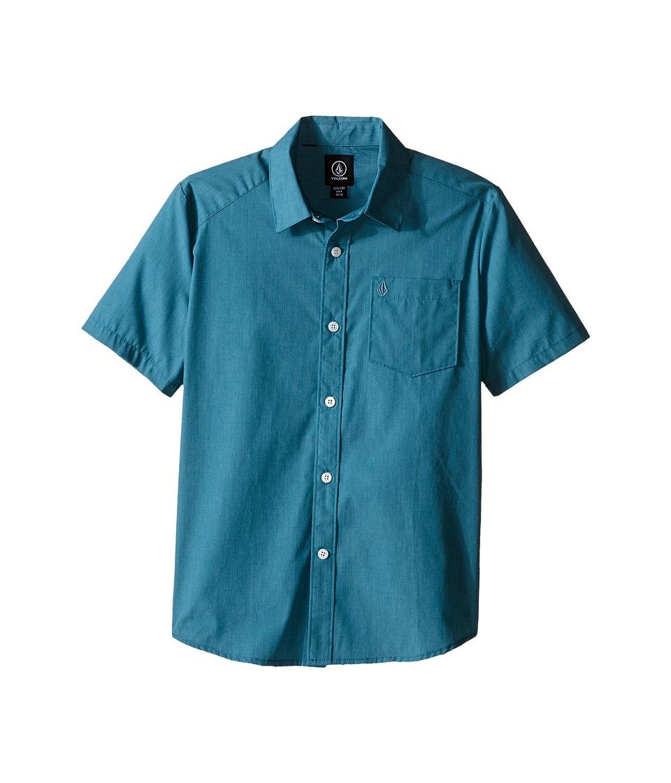 Volcom Kids - Everett Solid Short Sleeve Shirt (Big Kids) (Stormy Blue) Boy's Short Sleeve Button Up