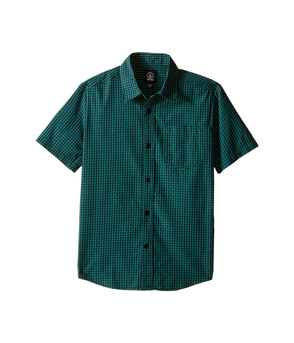 Volcom Kids - Everett Mini Check Short Sleeve Shirt (Big Kids) (Bottle Green) Boy's Short Sleeve Button Up