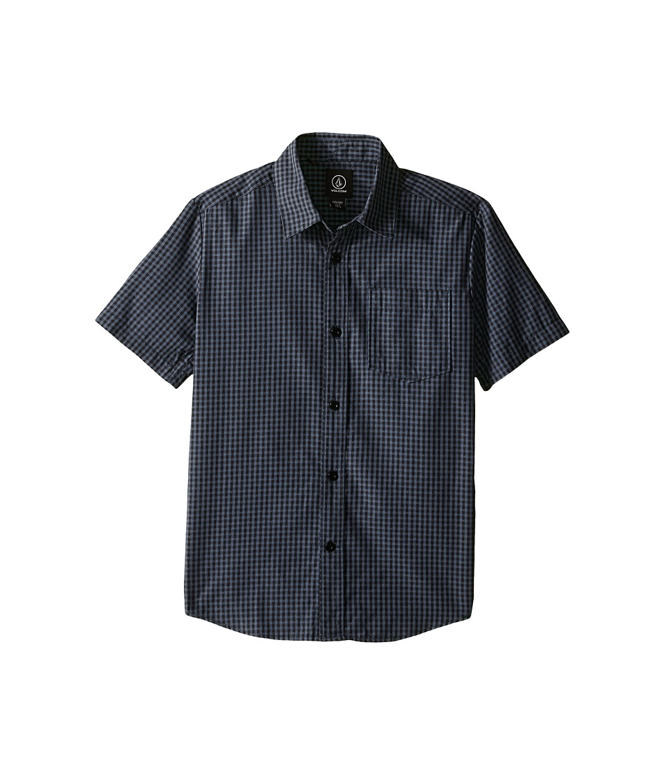 Volcom Kids - Everett Mini Check Short Sleeve Shirt (Big Kids) (Lead) Boy's Short Sleeve Button Up