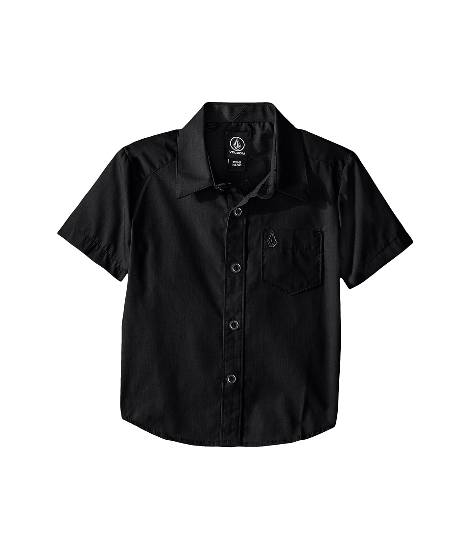 Volcom Kids - Everett Solid Short Sleeve Shirt (Toddler/Little Kids) (Black) Boy's Short Sleeve Button Up