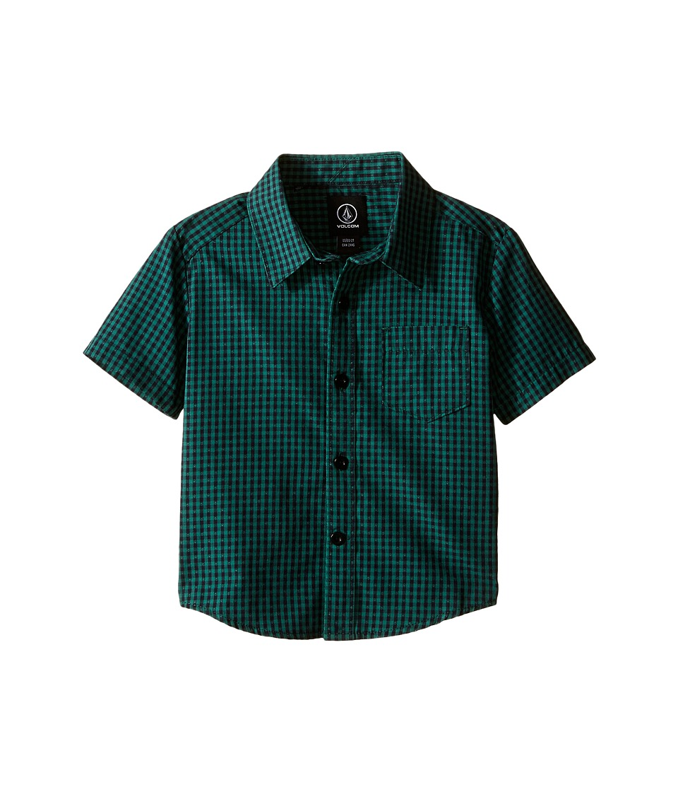 Volcom Kids - Everett Mini Check Short Sleeve Shirt (Toddler/Little Kids) (Bottle Green) Boy's Short Sleeve Button Up