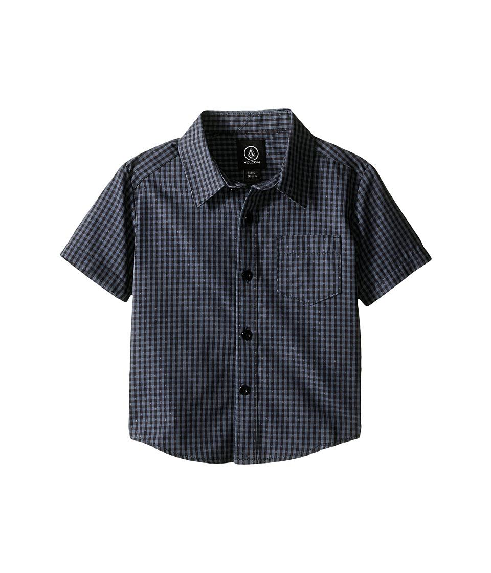 Volcom Kids - Everett Mini Check Short Sleeve Shirt (Toddler/Little Kids) (Lead) Boy's Short Sleeve Button Up