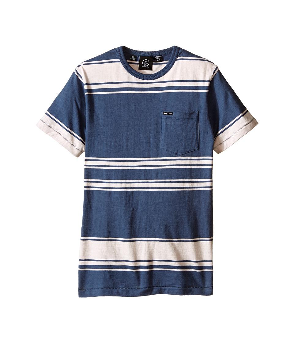 Volcom Kids - Hayward Stripe Short Sleeve Crew (Big Kids) (Grey Blue) Boy's Short Sleeve Pullover