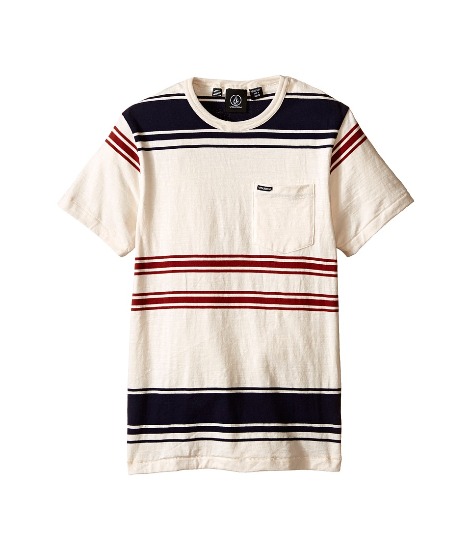 Volcom Kids - Hayward Stripe Short Sleeve Crew (Big Kids) (Paint White) Boy's Short Sleeve Pullover