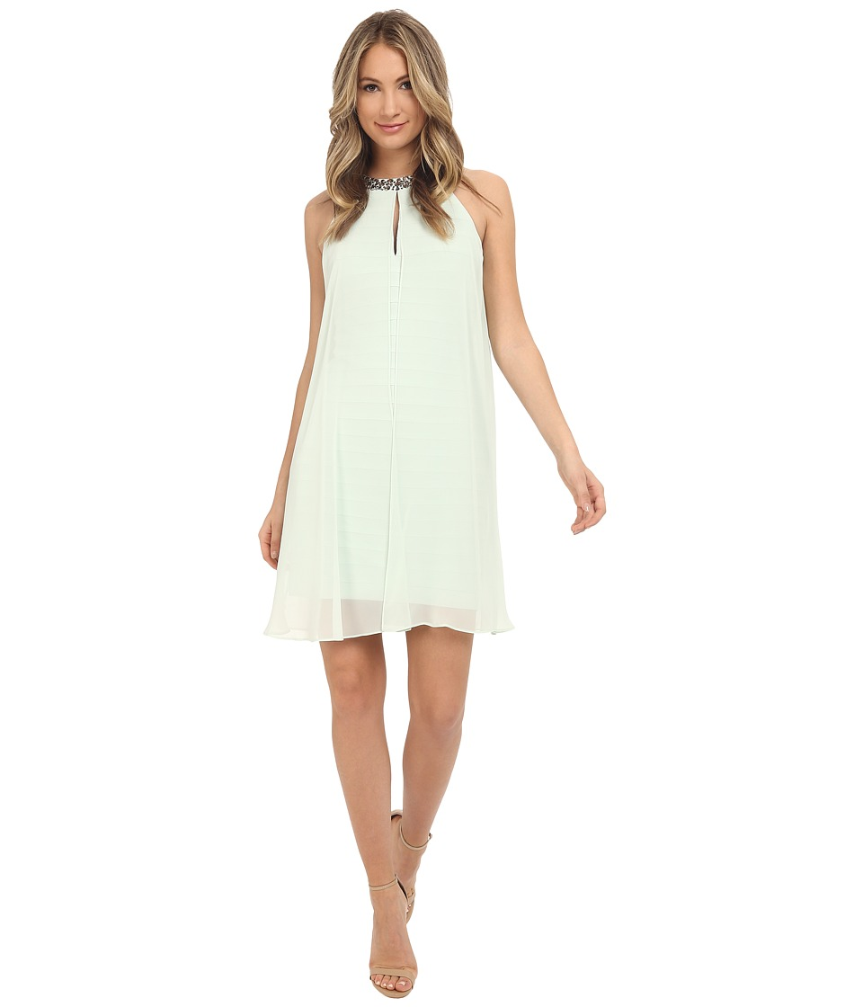 Adrianna Papell - Chiffon Veiled Banded Sheath Dress (Dusty Mint) Women's Dress