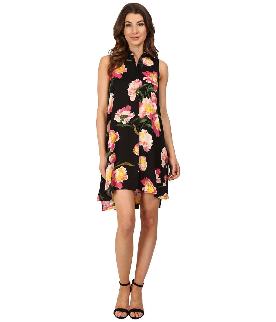 Adrianna Papell - Printed Fly Away Shirtdress (Black Multi) Women's Dress
