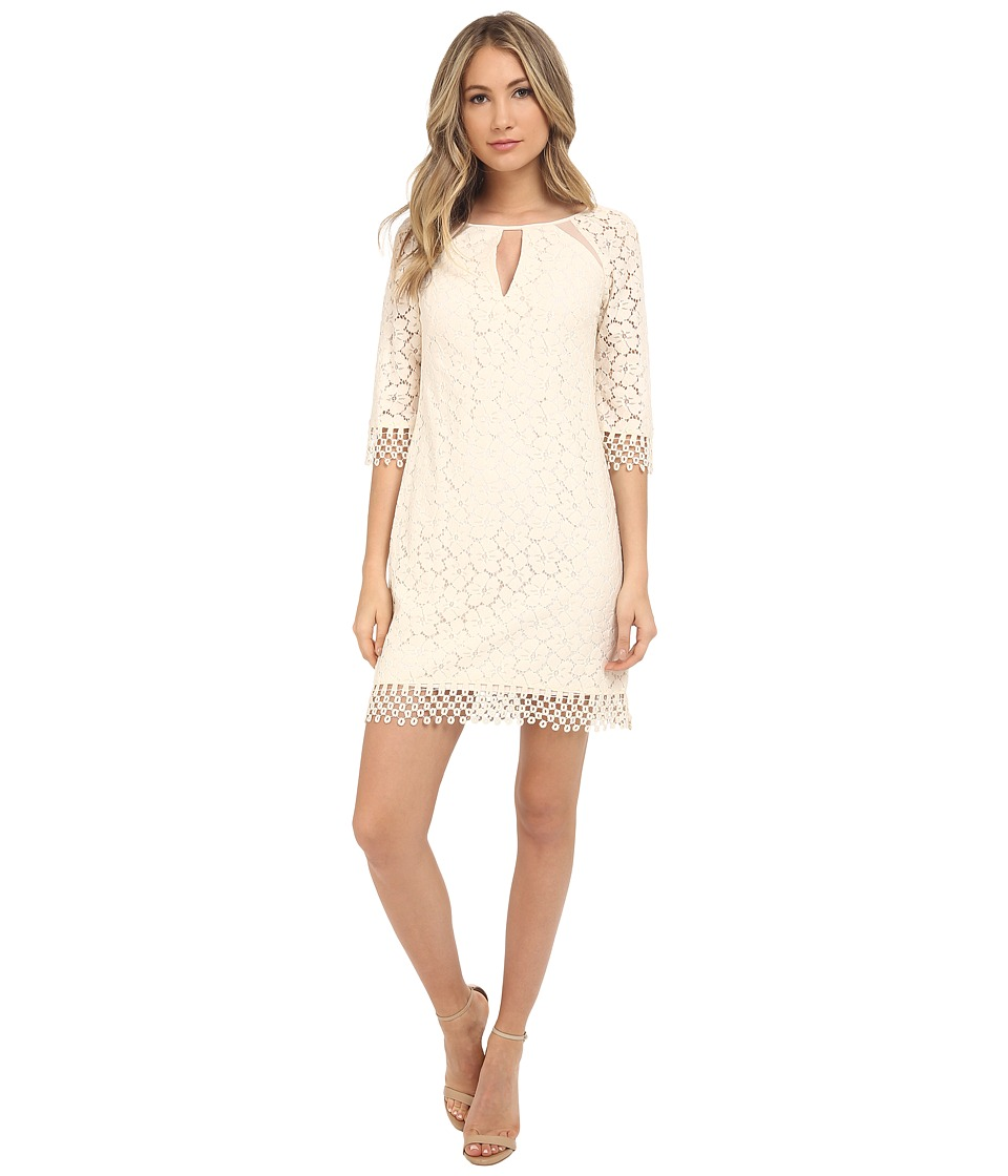 Adrianna Papell - Split Neck Raglan Shift Dress (Ecru) Women's Dress