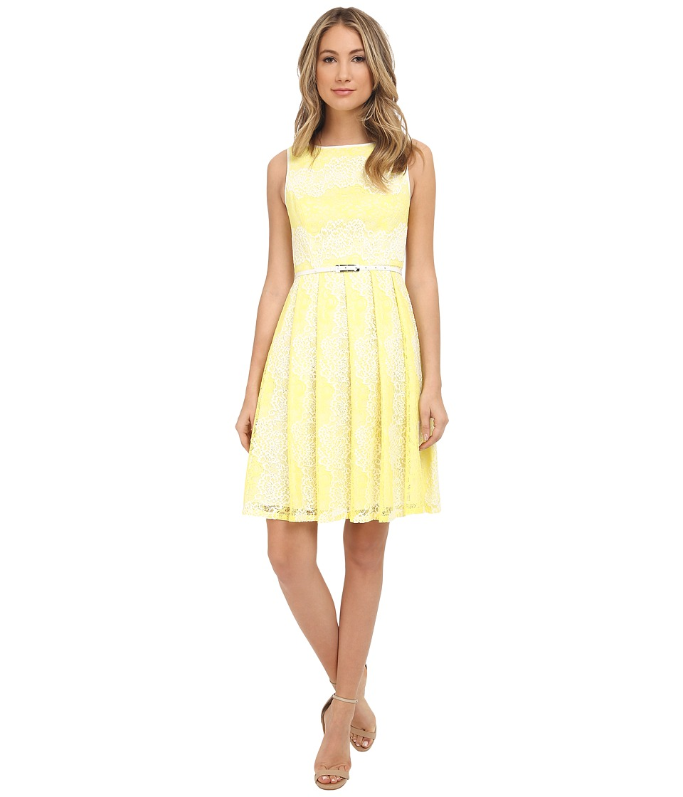 Adrianna Papell Fit Flare Lace Dress (Ivory/Sun) Women