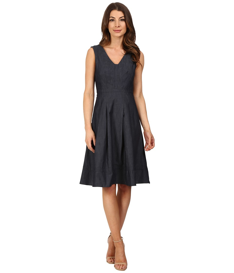 Adrianna Papell - Fit Flare with Inset (Chambray Blue) Women's Dress
