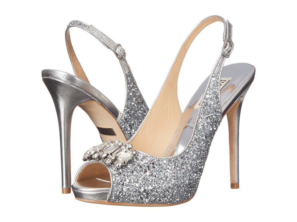 Badgley Mischka - Adore (Silver Glitter Fabric/Metallic) High Heels