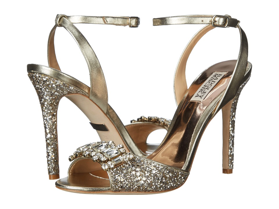 Badgley Mischka - Amanda II (Platino Glitter Fabric/Metallic) High Heels