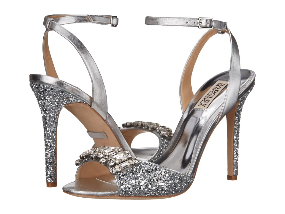 Badgley Mischka - Amanda II (Silver Glitter Fabric/Metallic) High Heels