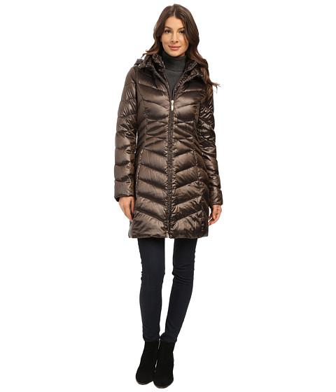 Ellen Tracy - Center Front Zip Packable Down w/ Fixed Bib (Gunmetal) Women's Coat